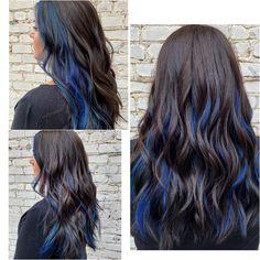 Under Hair Color, Hidden Hair Color, Hair Color Underneath, Pretty Hair Color, Hair Color For Black Hair, Blue Hair Highlights, Hair Color Streaks, Hair Dye Colors, Dyed Hair Blue
