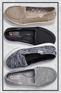 Chill out in comfort and casual style with Bobs women's shoes by Skechers®. They feature light fabric uppers, easygoing slip-in silhouettes and soft memory foam footbeds.