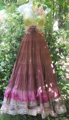 Sequin gypsy dress pink tea stained tulle par vintageopulence,