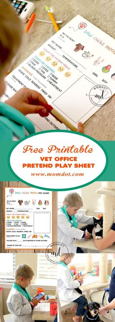 Free Printable: Vet Office Pretend Play Sheet. #printables #pretendplay #kids