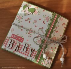 WHITE CORAL OLIVE GREEN BABY MINI ALBUM
