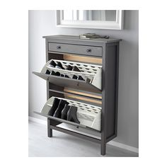 HEMNES Shoe cabinet with 2 compartments, gray dark gray stained dark gray stained 35x50