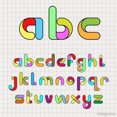 Designer cartoon creative letters O4 vector inside creative alphabet