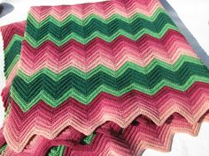 vintage wool crochet afghan - love the pink and green chevrons