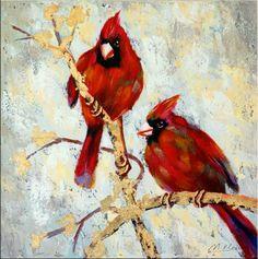 Die Vogelhochzeit - Ölgemälde auf Leinwand - sign. Martin Klein