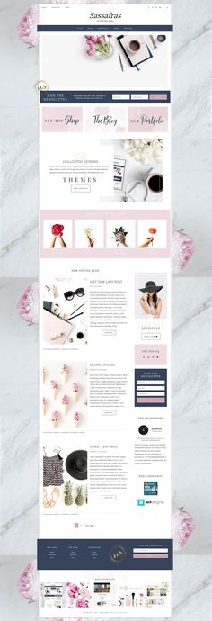 Hello Sassafras Wordpress Genesis #blog #blogdesign #wordpress #theme #feminine
