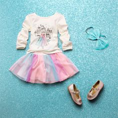 Toddler girls' fashion | Kids' clothes | Graphic top | Rainbow tutu skirt | Bow headwrap | Flats | The Children's Place