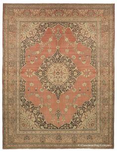 13x10 Antique Tabriz Persian rug in russet, Tabriz Oriental Rug