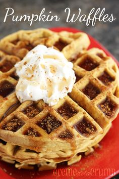 Pumpkin-waffles: Easy with simple ingredients (if you have pumpkin puree, you can make them). Made 5 in my waffle maker. Delicious!
