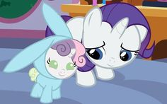 Rarity and baby bunny pony! Too cute MLP!