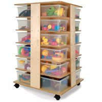 24 Tray Tower - Whitney Brothers Tray Space Saver Tower - when floor space is precious this tower fills a tall order. Sturdy Birch laminate construction tower and 24 clear bins combine for a very vertical, and visible storage solution. Daycare Cubbies, Preschool Cubbies, Classroom Cubbies, Cubby Storage Bins, Art Storage, Storage Ideas, Garage Organization Tips, Clear Bins, School Furniture
