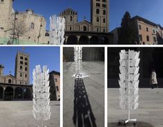 Winter postcards in the middle of town Several ice pieces cutted from the Ter river, presented in front of Santa Maria monastery in Ripoll. Troços de gel provinent del riu Ter, presentats com postals, petits troços d'hivern fonent-se a plé sol. The Middle, Land Art, Postcards, Louvre, Art Nature, Santa Maria, Winter, Ice, Winter Time