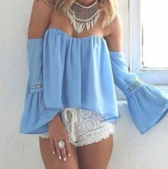 amazing, bohemian, boho, chic, cool, fashion, girl, gorgeous, hippie, indie, lace shorts, necklace, outfit, photography, style, summer, trendy, crochete, ruffled top