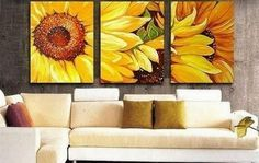 100% Hand Painted Artwork Yellow Sunflower 3 Piece Wall Art Oil Painting Modern Art Canvas Art Gallery Wrapped Stretched and Ready to Hang by Paintingworld, http://www.amazon.com/dp/B00B9NL01U/ref=cm_sw_r_pi_dp_2gBXrb09QX357