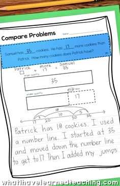 Addition and Subtraction Word Problems by Problem Type allow you to differentiate the numbers for your students and teach them to look at the context of a problem before working with the numbers. Vocabulary cards to solve word problems.