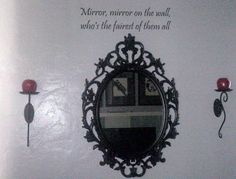 Decorated your wall with snow white theme. Mirror from ikea, sconces from partylight, decal sticker snd candles form Amazon.com