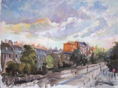 Bow Road East End - sketch, oil on card, 52.5cm x 39.5cm