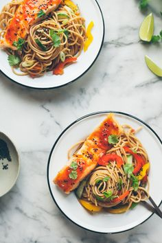 Salmon Noodle Bowl with Chili, Lime, and Ginger (gluten-free, optional) - 80twenty