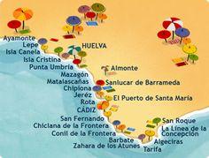 Costa de la Luz with all the little towns along the costa - Our La Dorada is in Conil! Right in the centre of the costa = a perfect spot