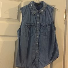 Studded collar Denim color Forever 21 Tops Button Down Shirts