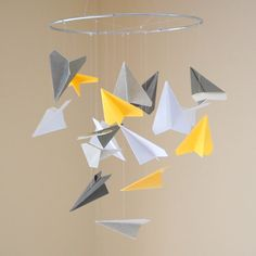 Cute Paper Airplane Mobile for boys room in navy orange green and white
