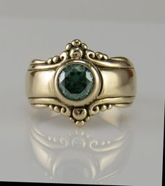 14ky Gold Green Moissanite Ring One of a by DenimAndDiaJewelry