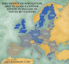 The percentage of the population of each country which can hold a conversation in English.