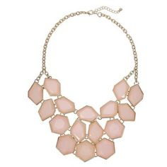 Yoins Faceted Stone Bib Necklace-Pink