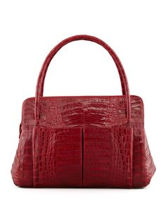 NANCY GONZALEZ Linda Medium Crocodile Satchel Bag, Dark Brown. #nancygonzalez #bags #lining #hand bags #satchel #suede #