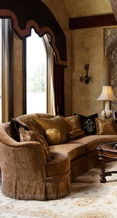 High end furniture. Manor home sofa collection. Live like a King, luxury furnishings for castles to cottages Bernadette Livingston Furniture. Tuscan Design, Tuscan Style, Living Room Furniture, Living Room Decor, Living Rooms, Best Interior, Interior Design, World Decor, Tuscan House