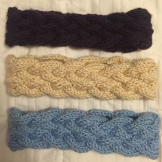 Set of 3 Handmade Warm Headbands I knitted these myself. All of them have never been used, but they aren't perfect since I'm not a pro 😜. They are a bit stretchy as well so they will fit even my big head. Price is firm and I'm selling them only as a bundle. Accessories Hats