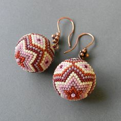 Seed Bead Earrings  beaded bead earrings with by Anabel27shop, $33.00