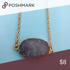 BRAND NEW! Dark gray druzy stone like necklace! Super adorable! Brand new! Adjustable strap, gold accents! Jewelry Necklaces