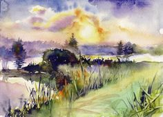 "Sunset watercolor painting - sun painting, print ""Sunset at lake"", archival watercolor paper"