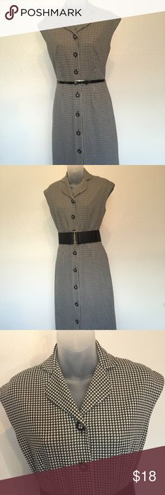 """Houndstooth print dress Houndstooth print dress with buttons all the way down the front, fully lined. Measures 17"""" flat armpit to armpit, 14"""" flat at waist and 25"""" long from waist. Does NOT include belts!    (Item 223) Max & Cleo Dresses"""