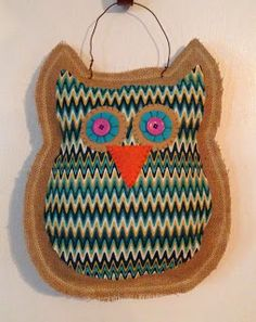 Owl Burlap Door Hanger from Me and My Crafties