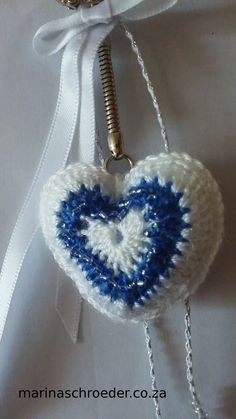 All Things Creative Thread Crochet, Key Rings, Seed Beads, Heart Shapes, Crochet Earrings, Crochet Patterns, Blue And White, Glass, Creative
