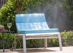 The Mista Sun Cushion is perfectly designed to keep you cool, while it's hot.   The Mista gives getting a spray tan a whole new meaning.    The Mista Sun Cushion fits comfortably into any standard sized outdoor lounge chair and fits anywhere on the deck. The Mista is the perfect setting for being comrotable while you sunbath, with it's 6 zone control misting nozzles, you can rest or relax while the kids are playing in the pool.  http://www.propools.com/mista/