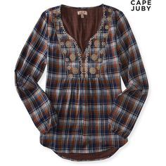 Aeropostale Cape Juby Plaid Embroidered Top (£39) ❤ liked on Polyvore featuring tops, boot caramel, v-neck tops, boho shirts, bohemian tops, pattern shirt and v neck tops