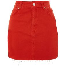 Topshop Petite Tomato Denim Skirt (155 RON) ❤ liked on Polyvore featuring skirts, mini skirts, red skirt, denim miniskirt, topshop mini skirt, denim skirt and petite red skirt