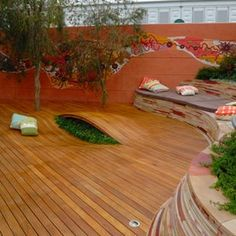 Chelsea Garden Show Decking Display using Cabots Intergrain Deck Oil-  by Jamie Durie Australia 2008. LOVED this garden - natural stone (looks like kimberley) is amazing, love the 3D deck