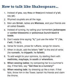 How to talk like Shakespeare. Cracking up! LOVE IT.