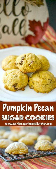 These cake-like Pumpkin Pecan Sugar Cookies make the perfect Fall afternoon snack. They're not overly sweet and perfect for dunking! via @CarriesExpKtchn