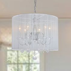 Chrome and Cream 6-light Crystal Chandelier | Overstock™ Shopping - Great Deals on Chandeliers & Pendants