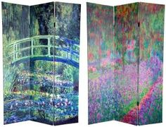 RoomDividers.com: 6 ft. Tall Works of Monet Canvas Room Divider - Water Lily/Garden