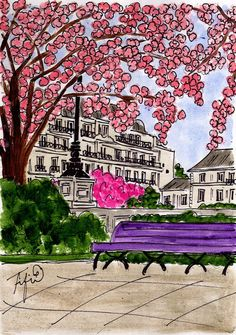 Pink Flowering Tree in Paris Without Eiffel Tower by fififlowers, $25.00
