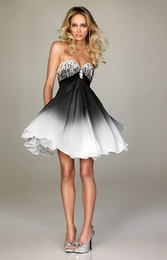 Short white and black Cocktail Dresses | ... Neckline Black White Ombre Sexy Short Prom Dress | Wedding In Dress