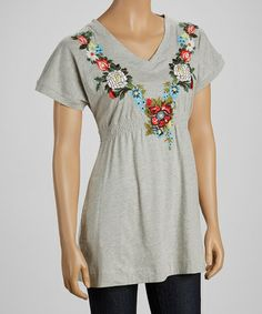 Another great find on #zulily! Heather Floral Smocked V-Neck Tee #zulilyfinds