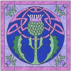 Celtic thistle wall hanging pattern - but might work as a block pattern too? It could be simplified by leaving out the pattern behind the thistle.