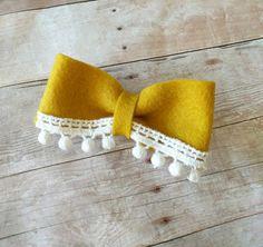 Mustard Yellow Felt Bow Alligator Clip by MrsPriss on Etsy